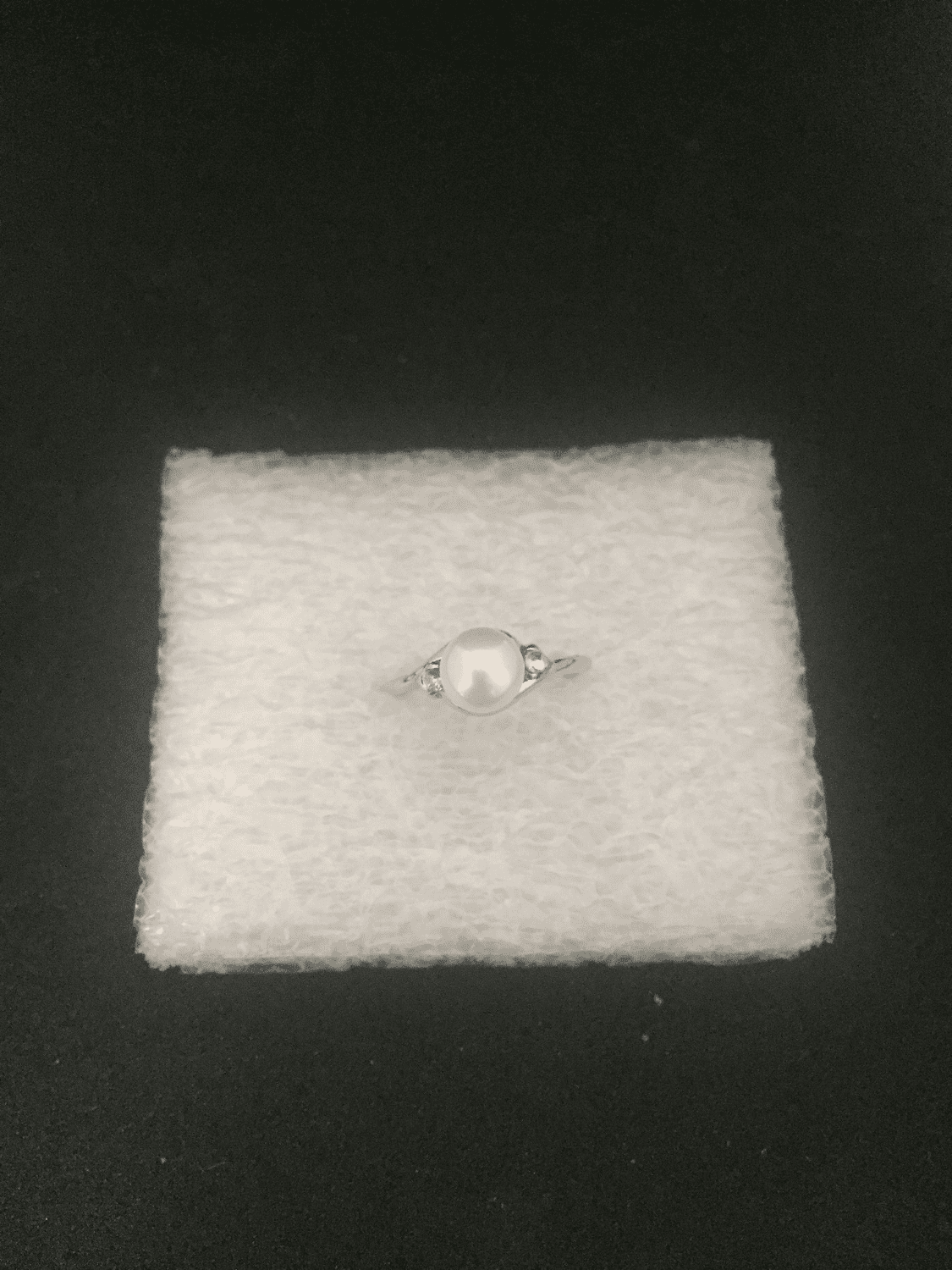 White Freshwater Pearl Ring with CZs