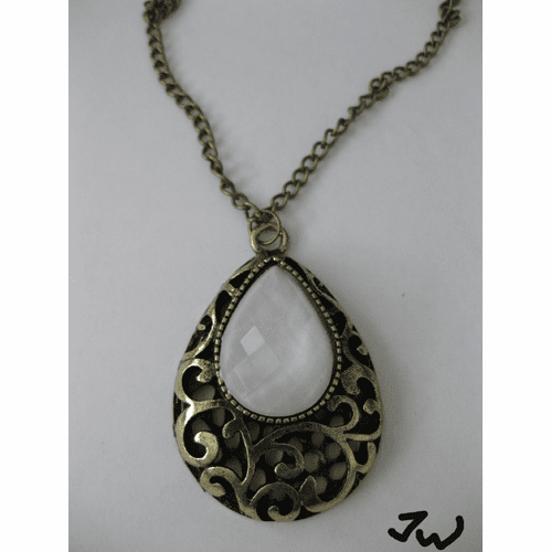 White Opal Bead Pendant Chain Necklace