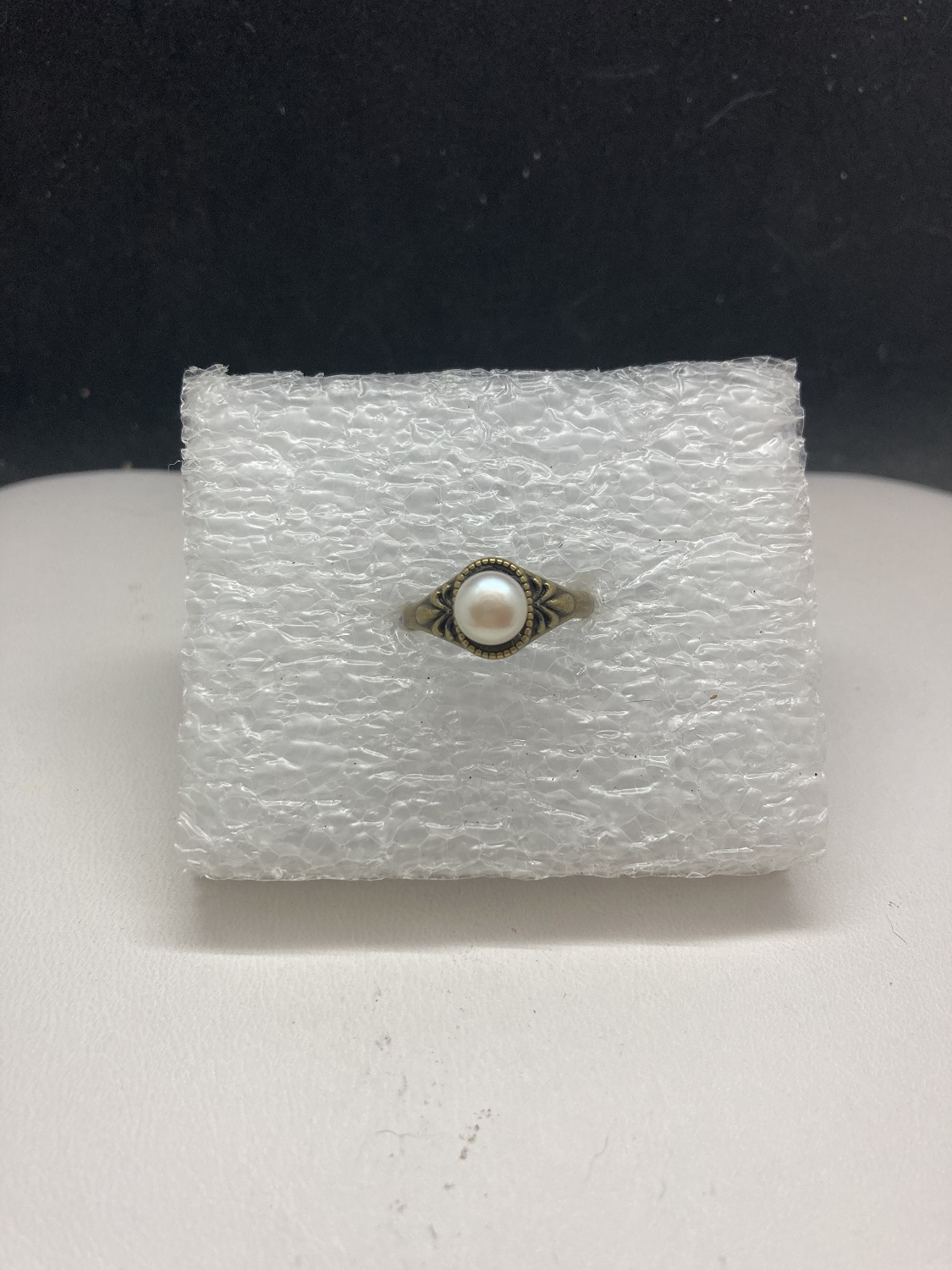 White pearl bead bronze ring - size 6