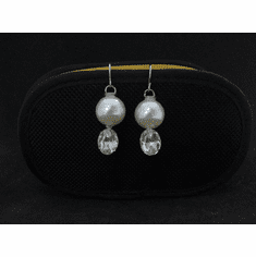 White Pearl Bead Dangle Earrings with Cz