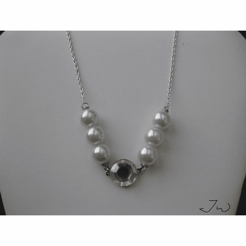 White pearl beads Chain Necklace with CZ