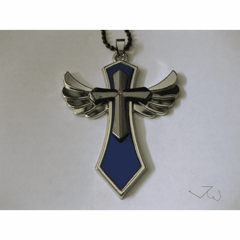 Wing Cross Stainless Steel Chain Necklace - Blue