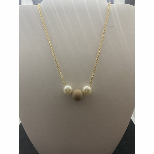 Wood and 2 Pearl Beads Gold Chain Necklace