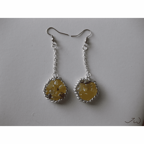 Yellow Agate Drop Stainless Steel Earrings