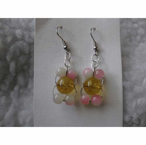 Yellow Amber Bead Stainless Steel Earrings with 4 apple Crystal beads