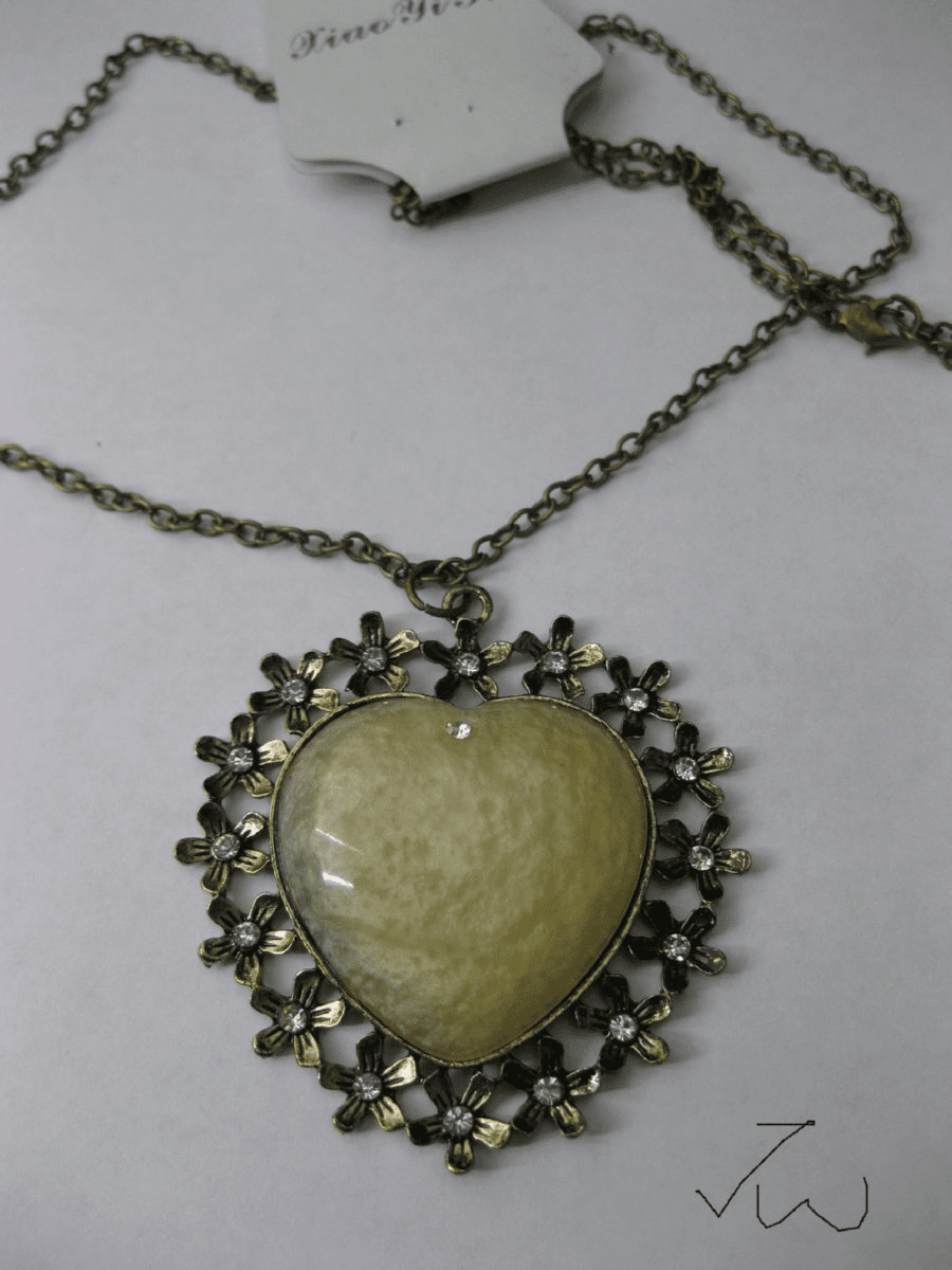 Yellow Heart Pendant Chain Necklace