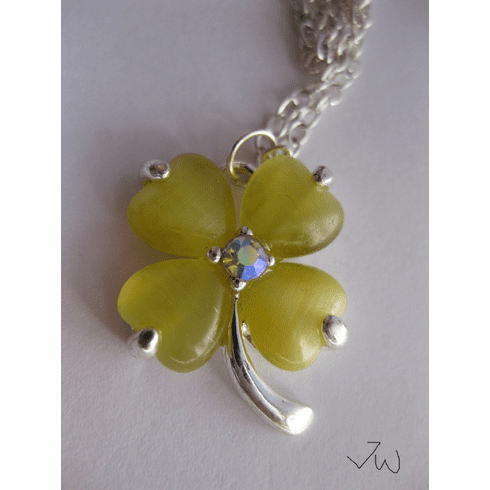 Yellow Lucky Leaf Chain Necklace
