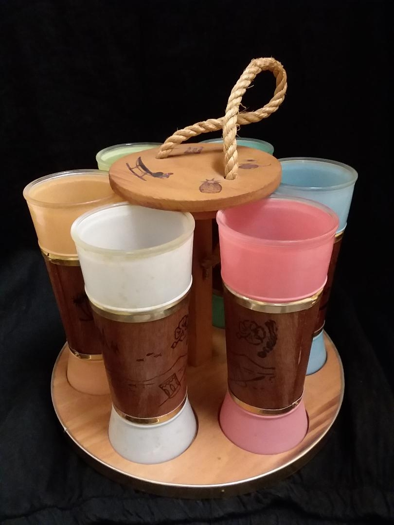 Vintage Siesta Ware carrier and tumblers