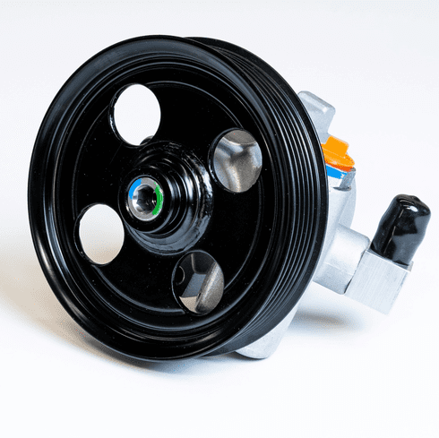 Aluminum power steering pump with 90 degree hose barb