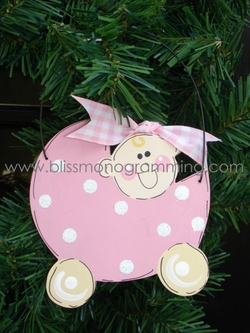 Baby Carriage Girl<br>Christmas Ornament