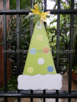 Birthday Hat Door Plaque - Green