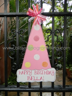 Birthday Hat Door Plaque - Pink