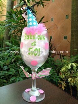 "Birthday Wine Glass<br>""Fabulous at 50!"""