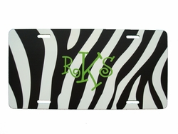 Black Zebra License Plate