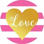 Love Pink with Gold Heart<br>Cookies
