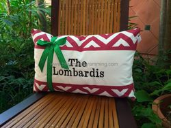 Chevron Christmas Family Pillow