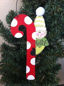 Elf with Large Candy Cane<br>Christmas Ornament