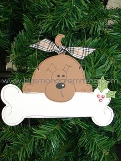 Full Dog with Bone<br>Christmas Ornament