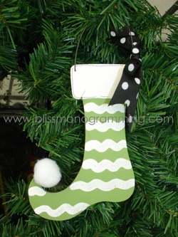 Green Stripe Stocking<br>Christmas Ornament