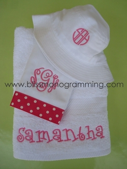 Pink Samantha Gift Set<br>(Hat, Burpcloth, Towel)