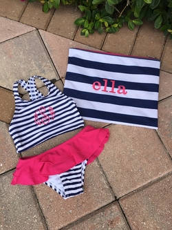 Kids Navy Stripe Swimsuit Set