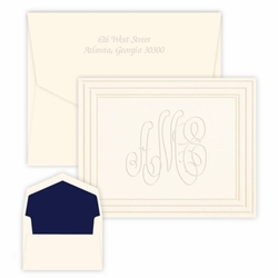 Classic Frame Monogram Note<br>Embossed