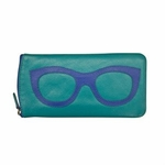 Leather Eyeglass Case<br>Aqua with Cobalt