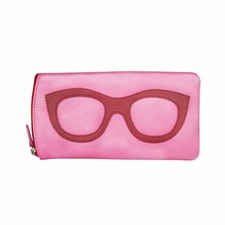 Leather Eyeglass Case<br>Pink with Red