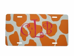 Orange Giraffe License Plate