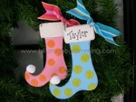 Polka Dot Stocking<br>Christmas Ornament
