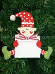 Sitting Elf with Sign<br>Christmas Ornament<br>SOLD OUT!