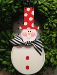 Snowman Tall Hat Round<br>Christmas Ornament