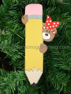 Teacher Bear with Pencil<br>Christmas Ornament