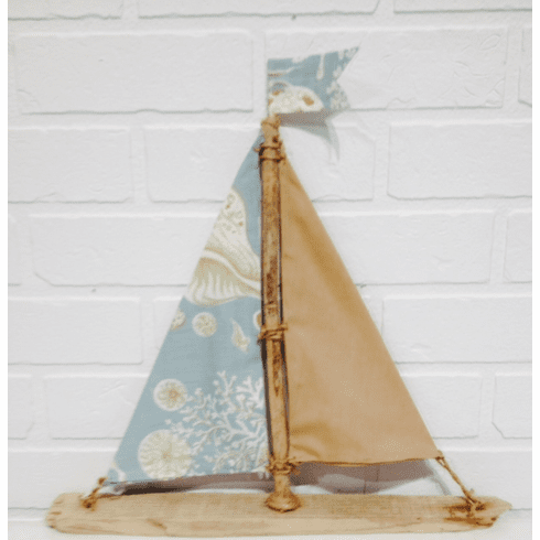 Blue Seashell Driftwood Sailboat