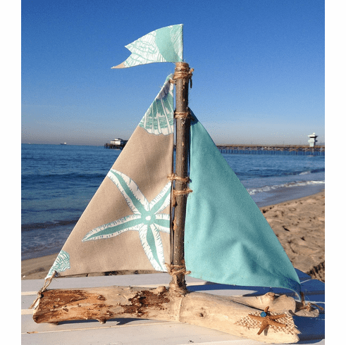 Driftwood Sailboat Green Sea