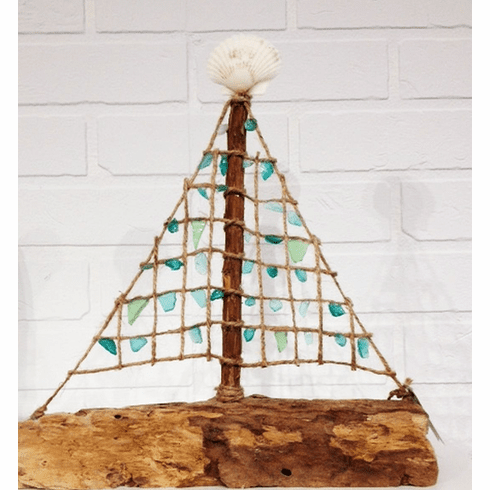 Driftwood Seaglass Sailboat