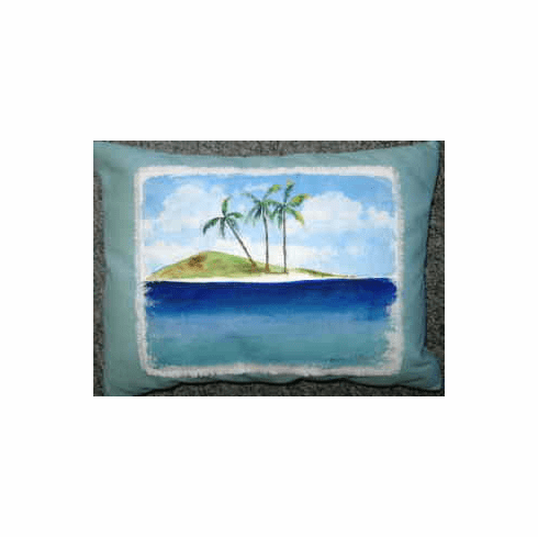 Hand Painted Pillow Island Escape