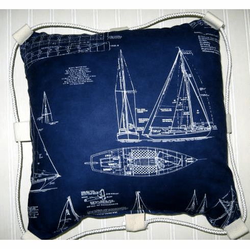 Nautical pillow  Blue print