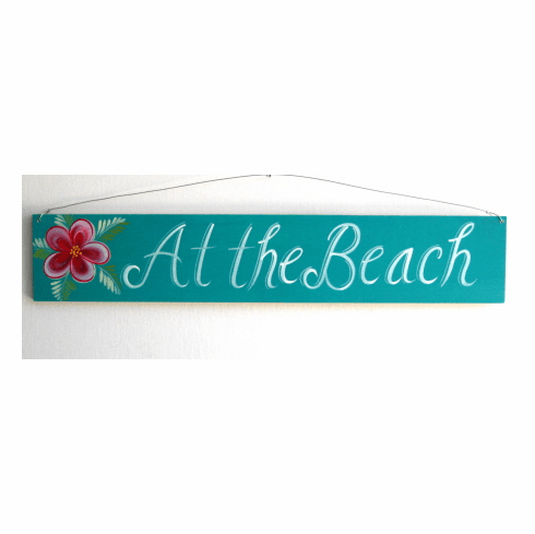 Teal At The Beach Sign