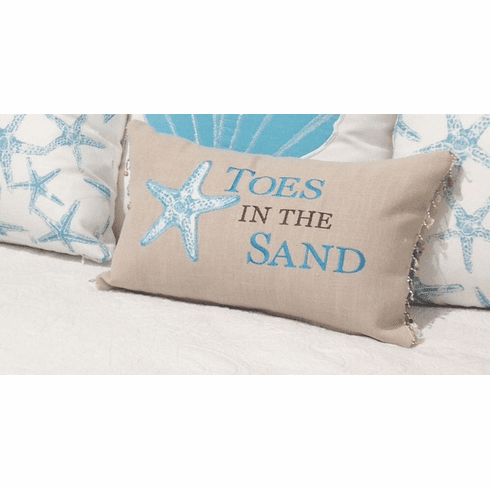Waterside Oblong Pillow with Shell Trim