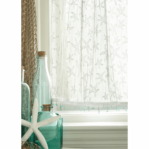 White Lace Starfish Curtains