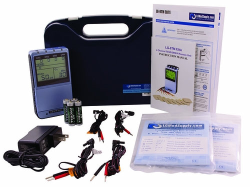(8 Electrode Combo Unit) TENS, Muscle Stimulator, Russian Stimulator & Interferential Unit - AC Adapter / Battery