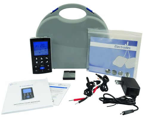 TENS & Muscle Stimulator Rechargeable Combo Unit with 12 Preset Body Icons & User Adjustable Settings