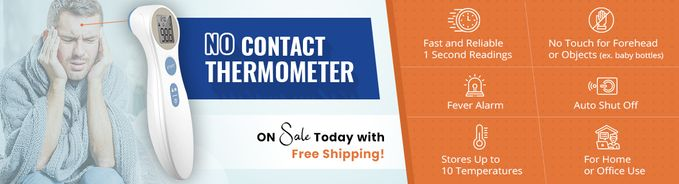 NO CONTACT Infrared Forehead Thermometer - for Forehead and Object Temperature