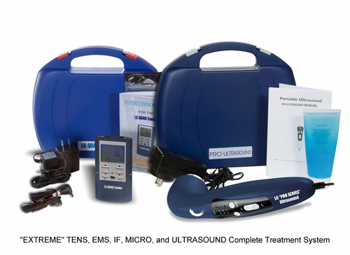 """EXTREME TREATMENT KIT"" 4 in 1 (TENS, Muscle Stimulator, Interferential, and Microcurrent) ""QUAD Combo"" and ""PRO SERIES"" Ultrasound Therapy System"