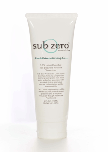 Sub Zero Pain Relief Gel - 4 Ounce Tube