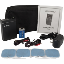 while supplies last-LG-R2500 GREAT FOR FITNESS & Muscle Rehab -  Russian Electronic Stimulation Kit w/ 8 Intensity Levels (4 Electrodes) Complete System w/ Carrying Case, AC Adapter, Battery & Electrodes
