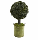 1.5� Boxwood Ball Topiary Artificial Tree in Green Tin (Indoor/Outdoor)