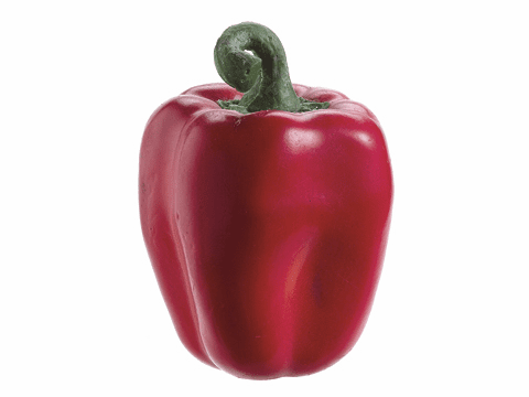 "1 Dozen - 3.5"" Weighted Fat Artificial Red Bell Peppers"