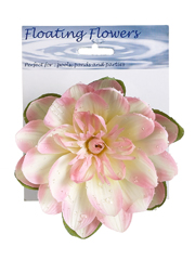 1 Dozen - 7 inch Floating Lotus Flowers with Raindrops in Pink